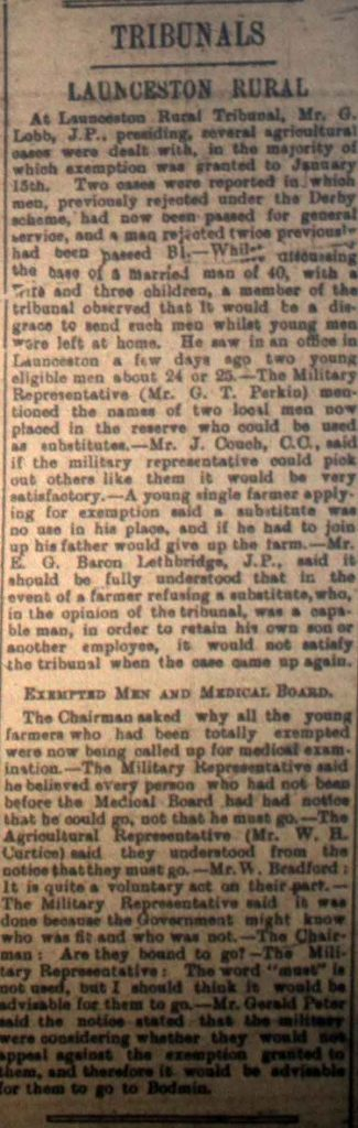 Launceston Tribunal November 18th, 1916