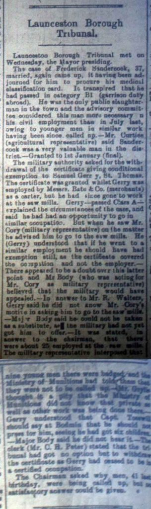 Launceston Tribunal October 21st, 1916