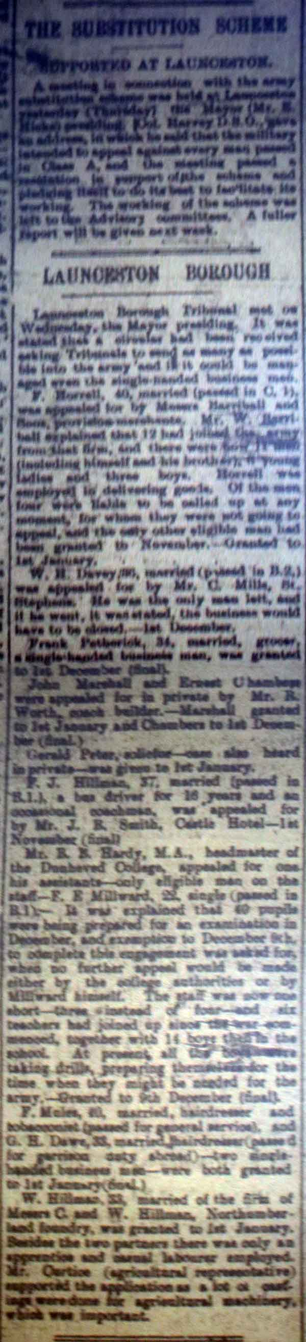 Launceston Tribunal October 7th, 1916