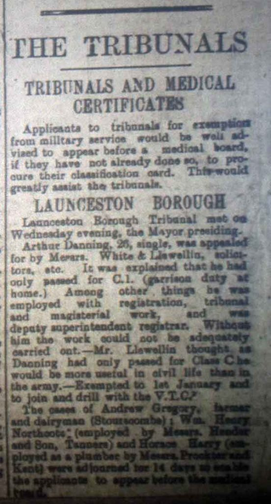 Launceston Tribunal September 9th, 1916