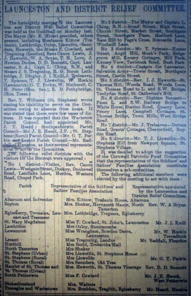 Launceston and District War Relief Committee October 3rd 1914