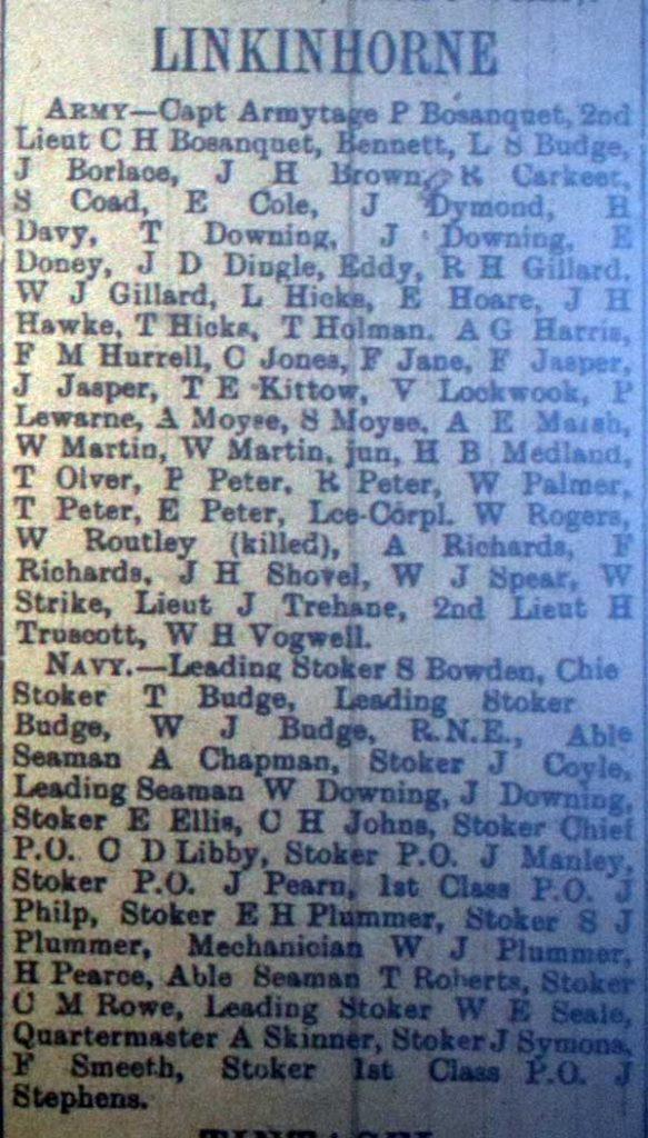 Linkinhorne Roll of Honour February 1916