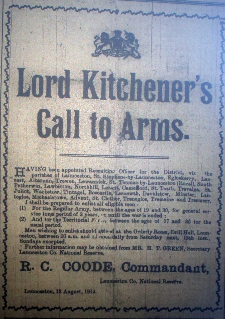 Lord Kitchener call to arms August 1914