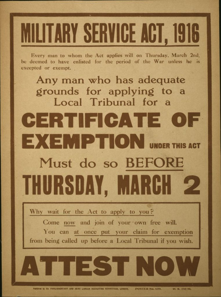 Military Service Act 1916 poster