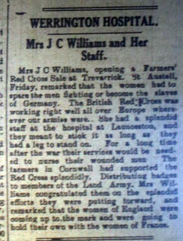 Mrs. Williams and the British Red Cross, June 1st, 1918
