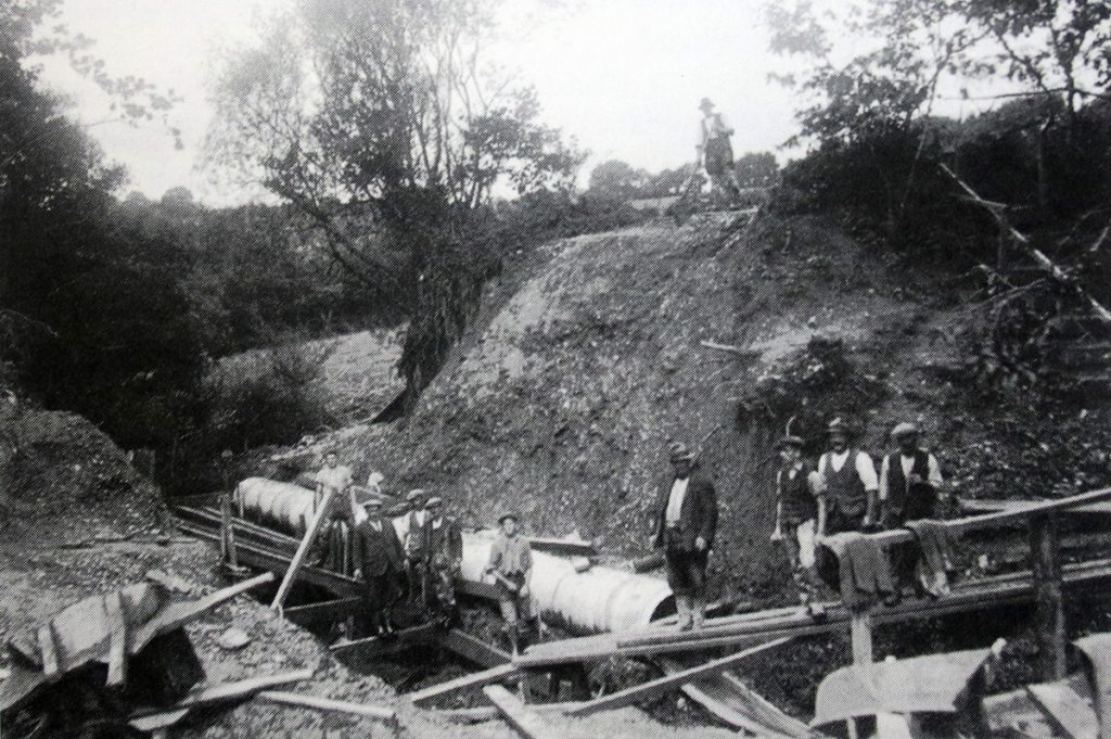 Navvies building the railway at Newmills in the Kensey Valley c.1891.