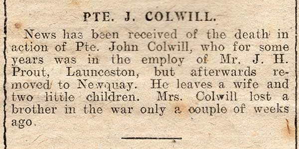 Private John Colwill death announcement, September 8th, 1917