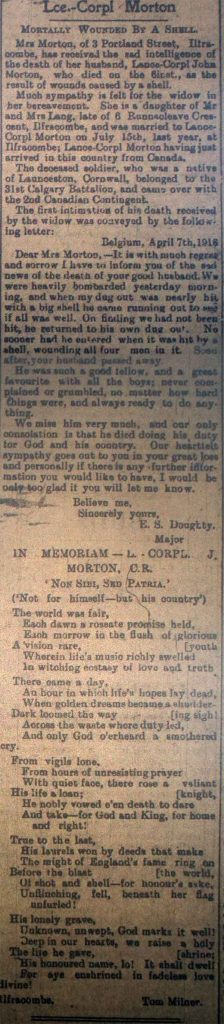 Private John Morton April 26th 1916