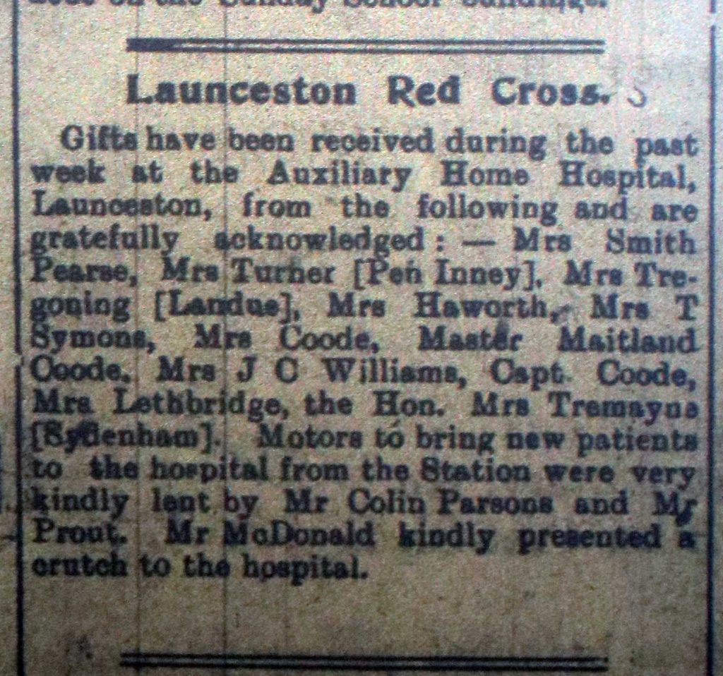 Red Cross donations January 15th 1916