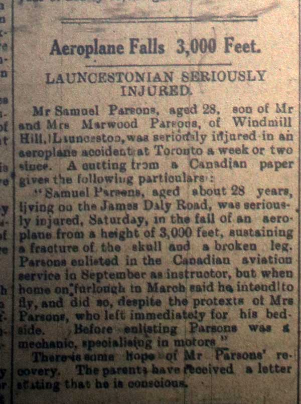 Samuel Parson, Aeroplane Accident, August 4th, 1918.
