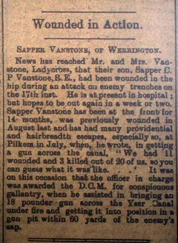 Sapper C P Vanstone Wounded April 1916