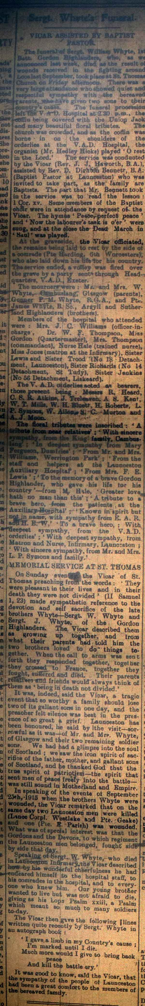 Sergeant William Whyte funeral April 1916