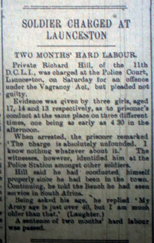 Soldier charged with vagrancy March 1916
