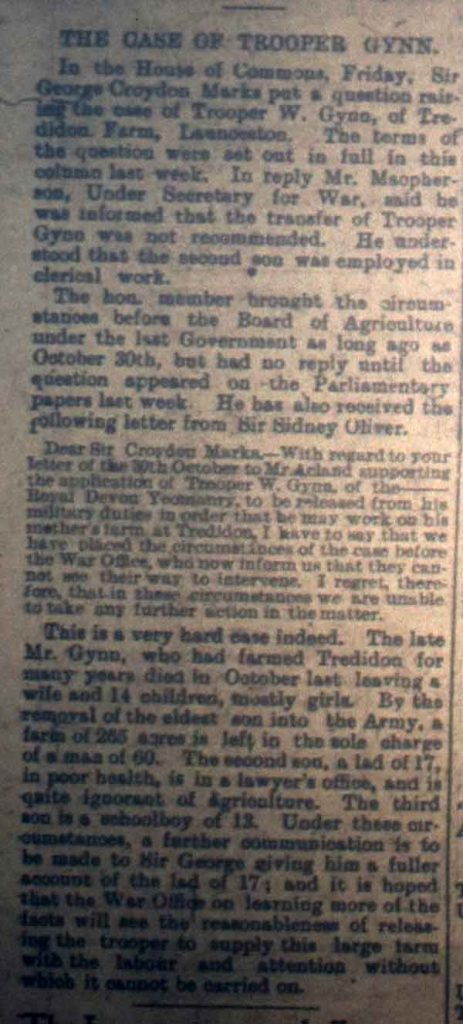 The Case of Trooper Gynn December 22nd, 1916