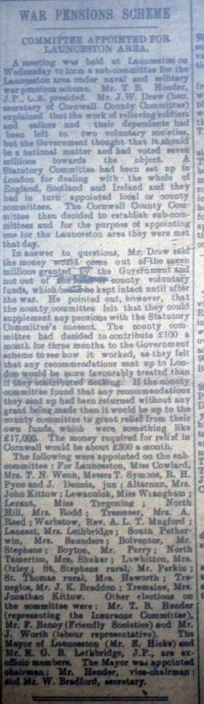 War Pensions Scheme October 7th, 1916