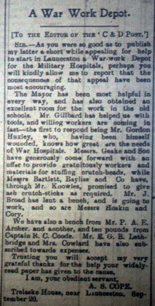 War depot work article September 23rd, 1916