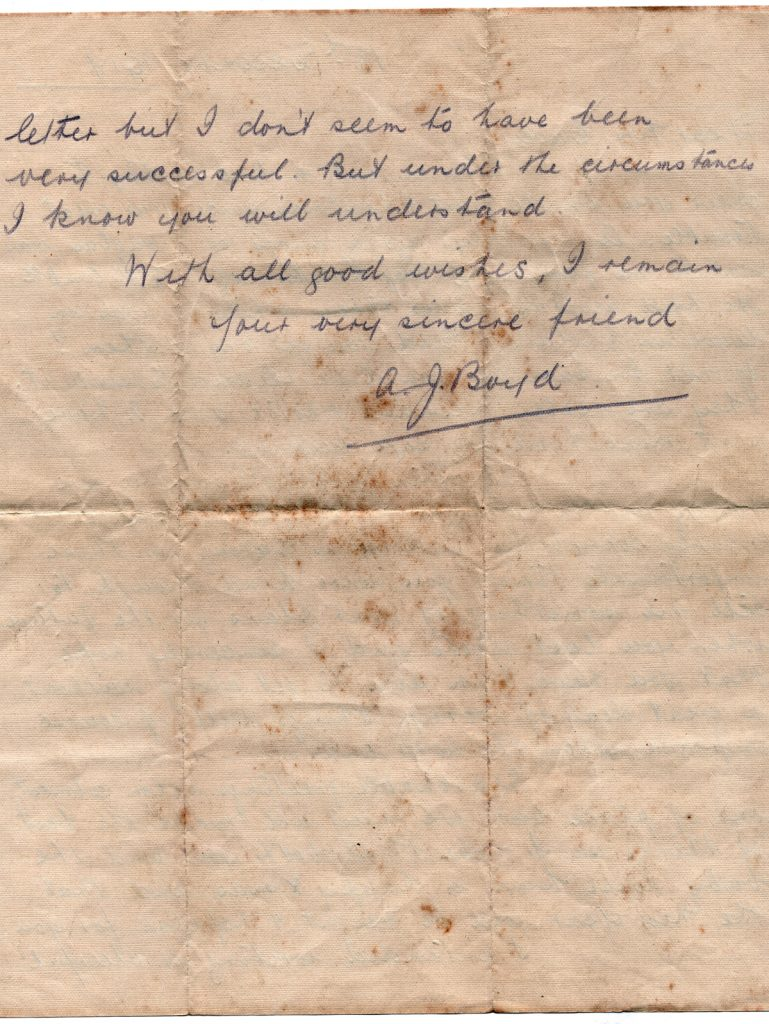 A. J. Boyd's Letter to Mrs Cavey December 18th, 1917, Page two