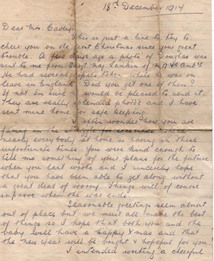 A. J. Boyd's Letter to Mrs Cavey December 18th, 1917, Page one