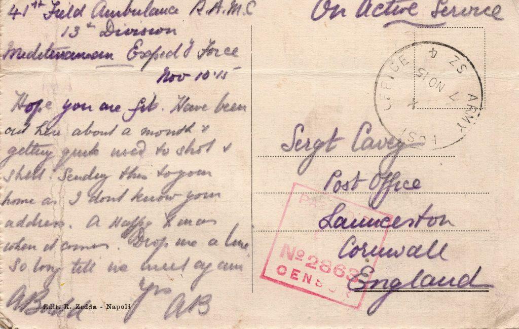 Arthur Budd's Postcard to D. Cavey November 1915