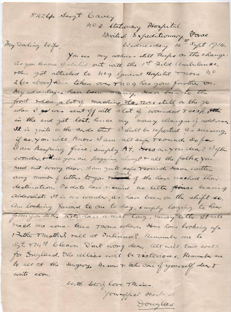 Doug Cavey Letter home September 16th, 1914