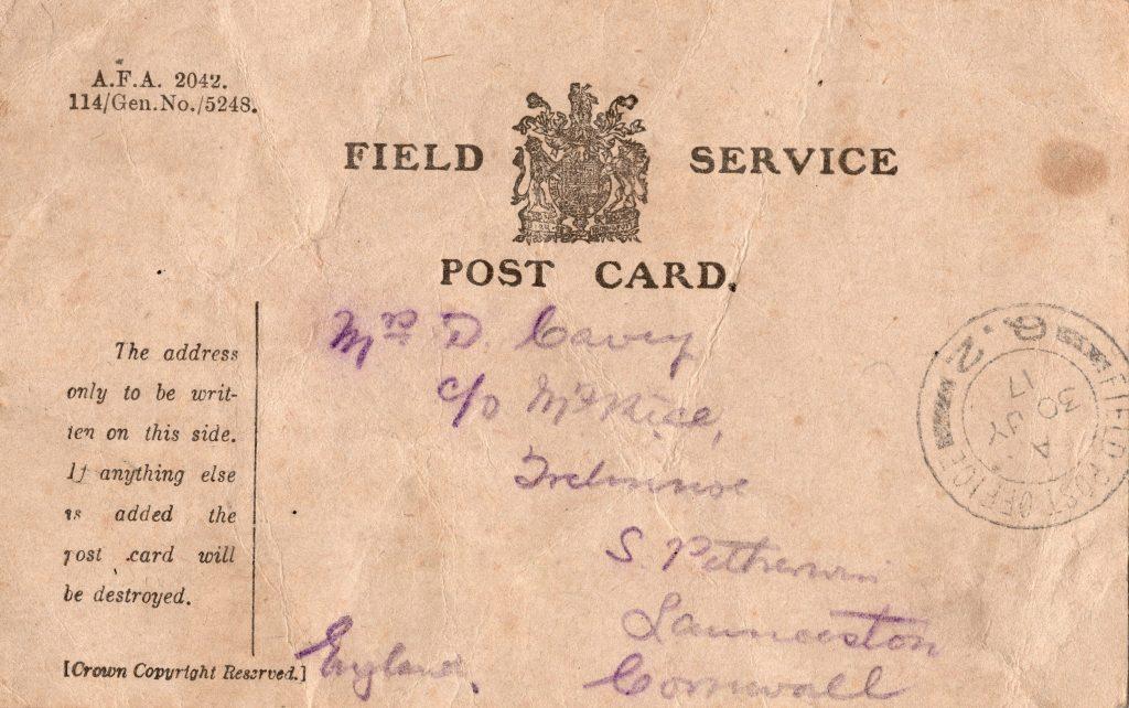 Doug Cavey letter receipt 30 July 1917
