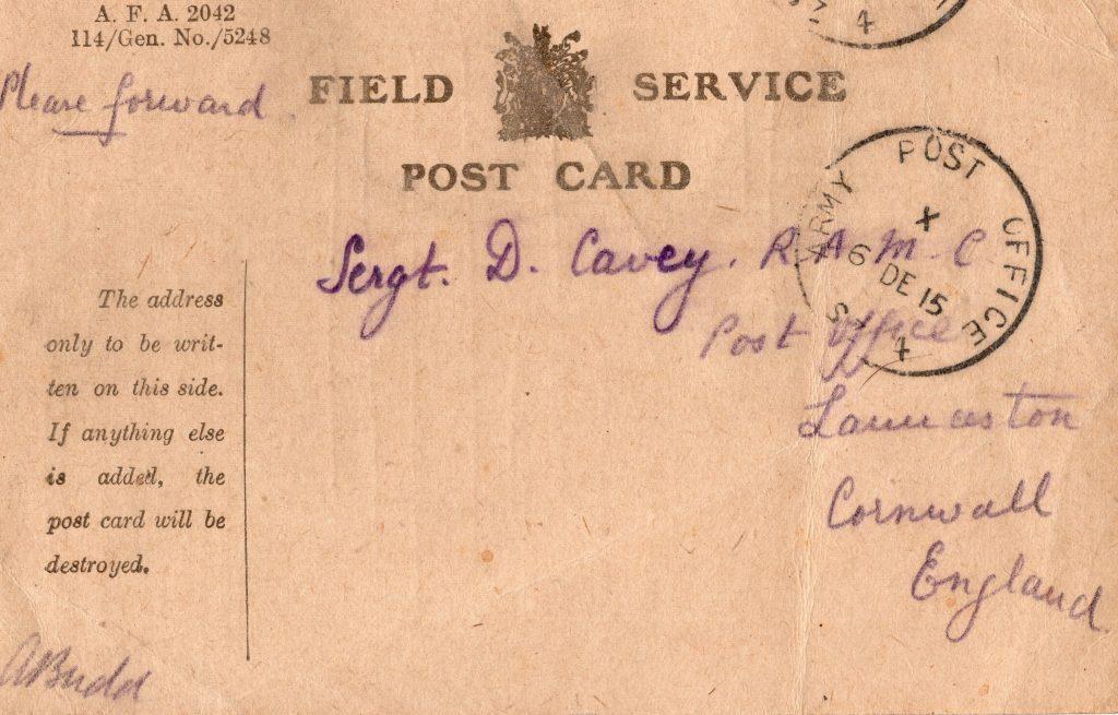 Doug Cavey letter receipt from Arthur Budd December 4th, 1915