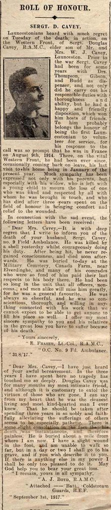 Launceston Weekly News report of Douglas's death September 8th, 1917