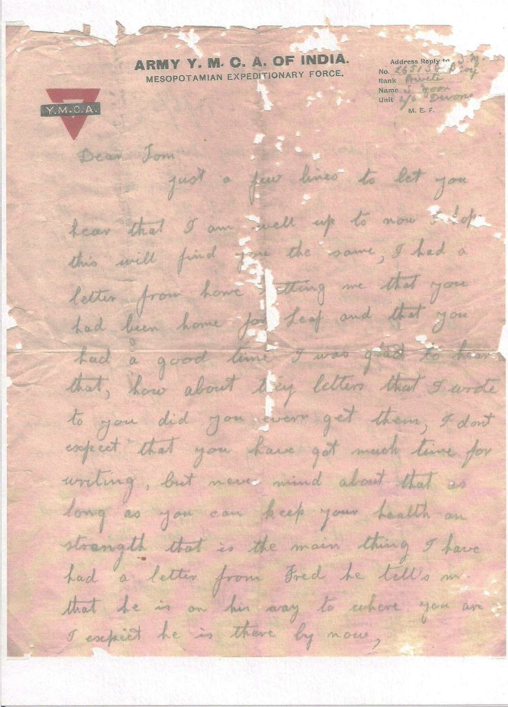 Letter from Sydney Moon to his brother Tom