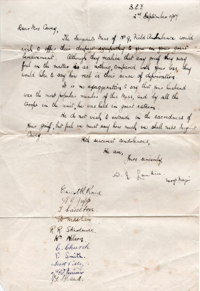 Letter from the Sergeants Mess September 2nd, 1917