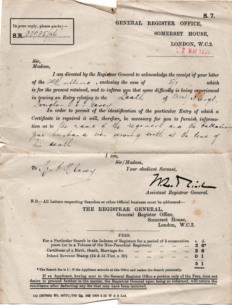 Somerset House letter dated May 17th, 1926