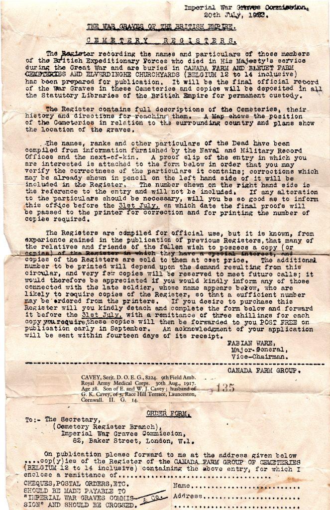 War Graves letter