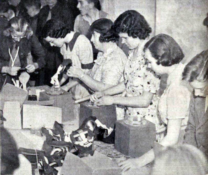 Gas mask assembly at Truro August 1939.