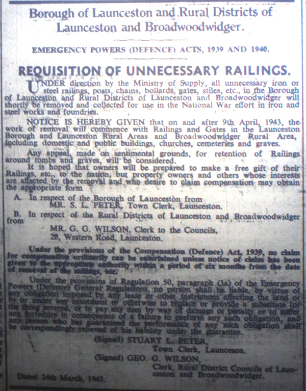 Removal of Railings Notification April 9th, 1943