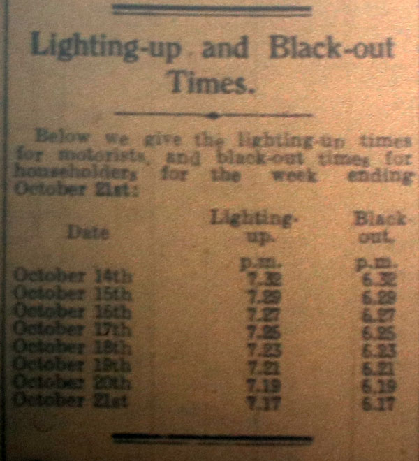 Black out times, October 1939