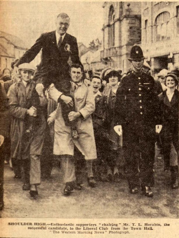 Mr. Horrabin the successful Liberal candidate in the 1939 by-election is carried through the Wadebridge Streets