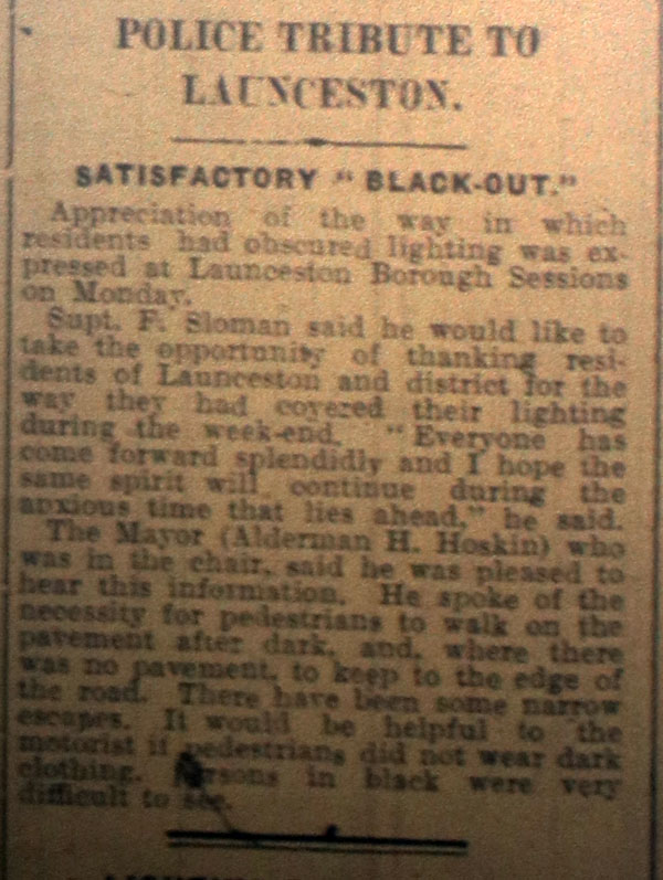 Satisfactory blackout September 9th, 1939