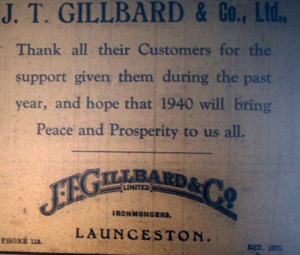 1939 J T Gillbard advert
