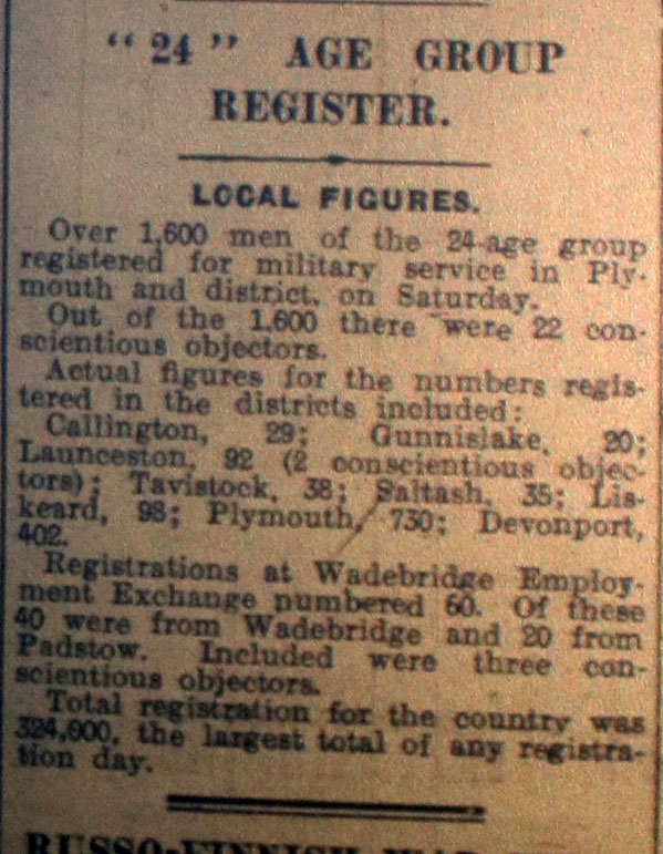 24 Age Group to Register Article March 16th, 1940.