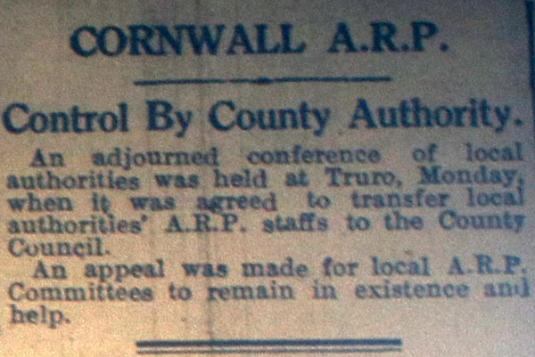 Cornwall ARP March 16th, 1940.