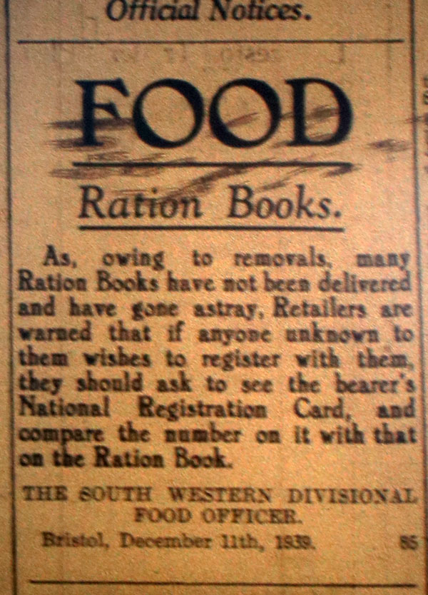 Food Ration Books December 1939