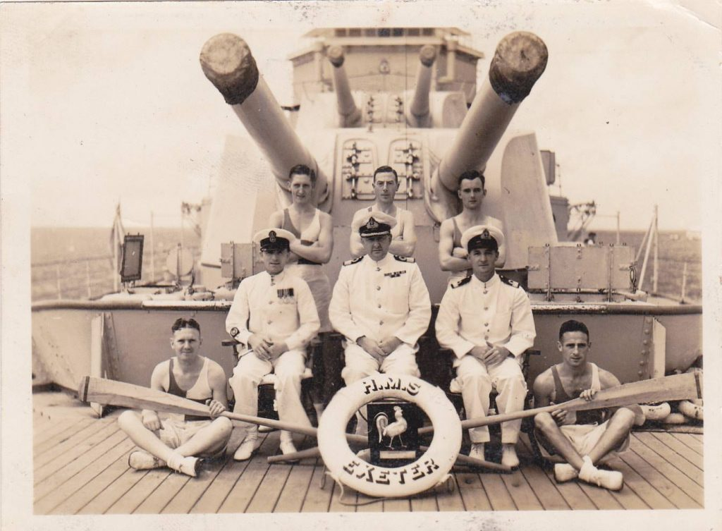HMS Exeter rowing team with Arthur Hicks Front row on the right.