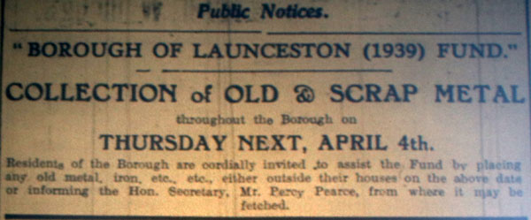 Launceston Scrap Metal Collection Notice March 30th, 1940.