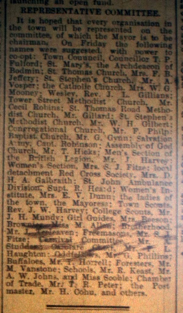 Launceston serviceman fund November 1939