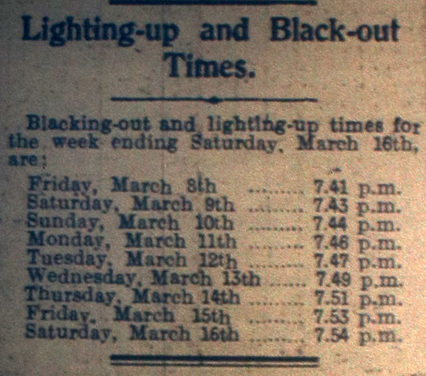 Lighting up times March 3rd, 1940