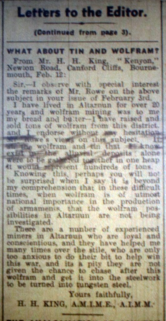 Mining letter February 17th, 1940