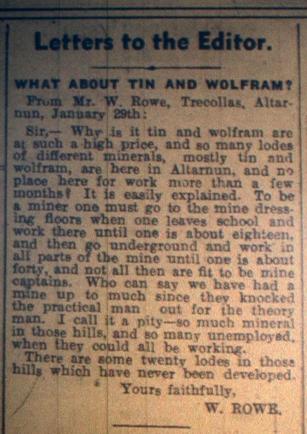 Mining letter February 3rd, 1940