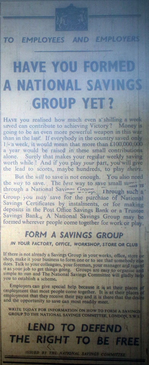 National Savings Advert from January 1940