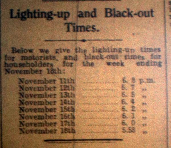 November 1939 Blackout Times