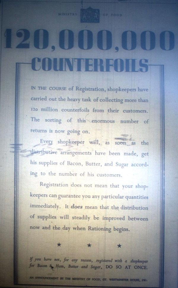 Ration Information November 1939