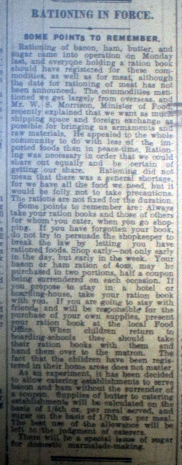 Rationing Begins Article January 13th, 1940
